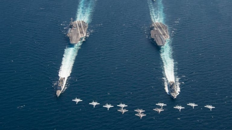 US Navy Sends Powerful Message With Aircraft Carrier Show of Force