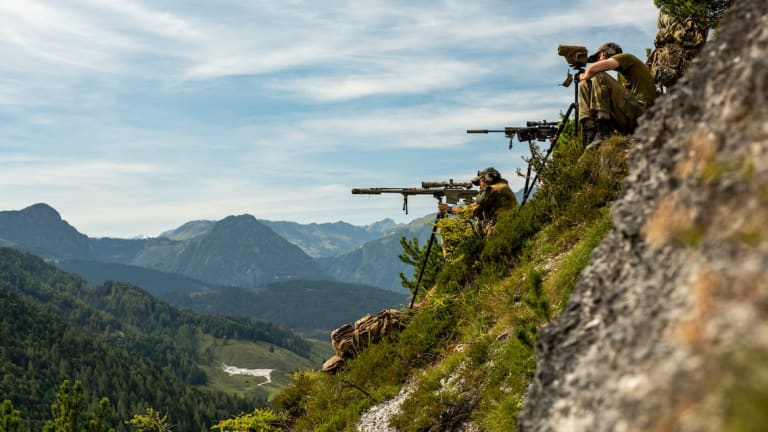 Images of NATO Snipers Performing High-Angle Shooting in the Austrian Alps