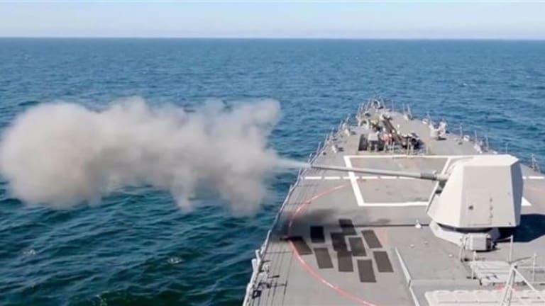 Navy Destroyer 5-inch Guns to Fire Rail Gun Hypervelocity Projectile