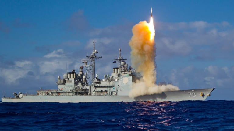 Navy Ships Seek to Stop Missile, Drone & Surface Attacks -- All at Once