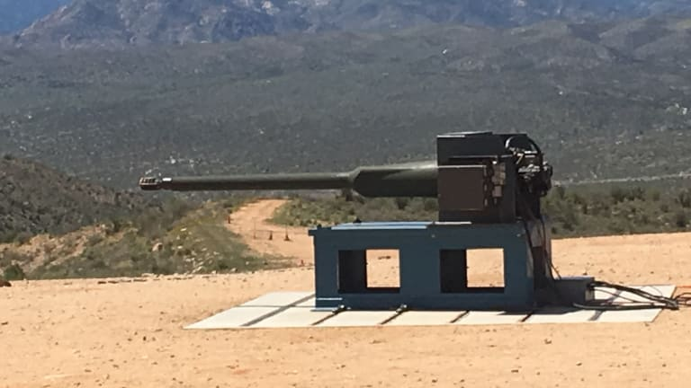 VIDEO -Watch Here: Live Fire Demo - New Army 50mm Cannon Destroys Targets