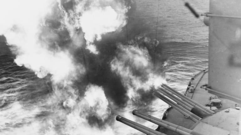 D-DAY 1944: Navy Battleship Guns Bombard Nazis at Omaha Beach