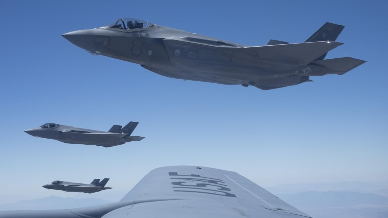 Air Force F-22s and F-35s Attack Mock Russian & Chinese Air Defenses