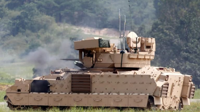 Army Bradleys Control Robots - Attack Targets