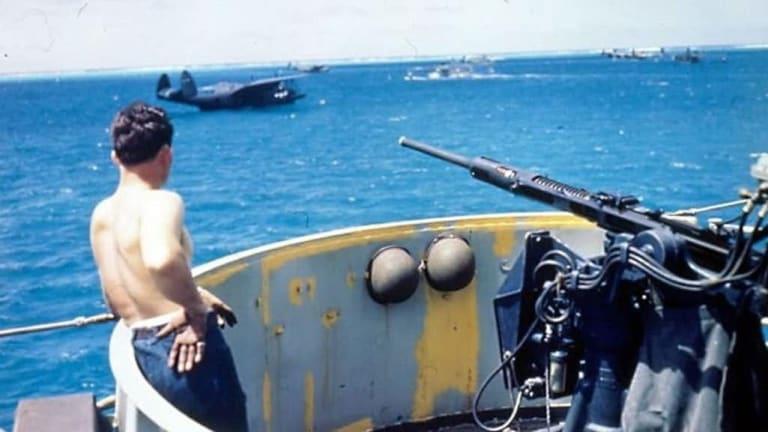 WWII Ocean War in the Pacific : Ships Firing 16-Inch Guns Point Blank