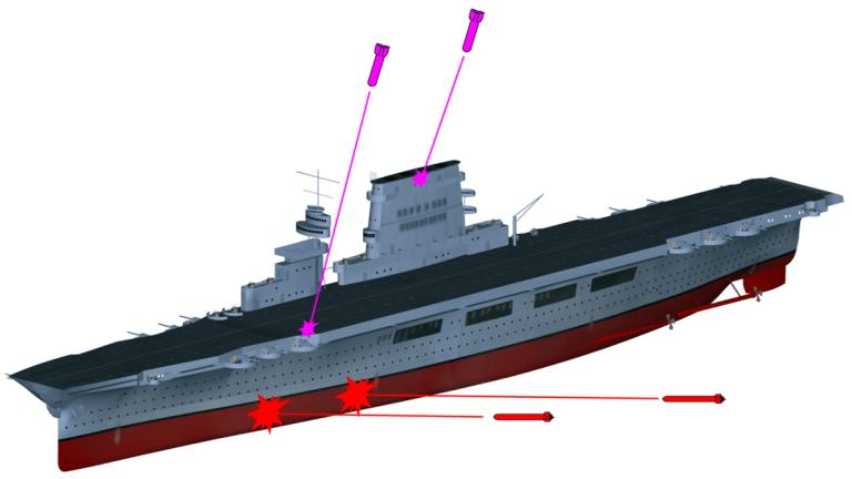 WW II: Battle of Coral Sea - US Carrier Sunk