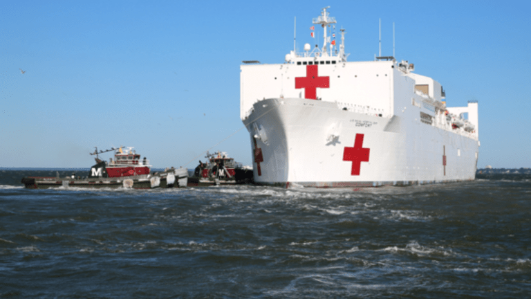 COVID 19 Recovery Patients Discharged from Navy Hospital Ship - USNS Comfort