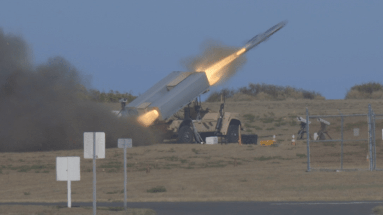 U.S. Marines Launch Naval Strike Missile that Attacks Enemy Ships from Land [NMESIS]