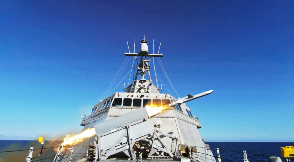 U.S. Navy USS Gabrielle Giffords (LCS 10) launches a Naval Strike Missile