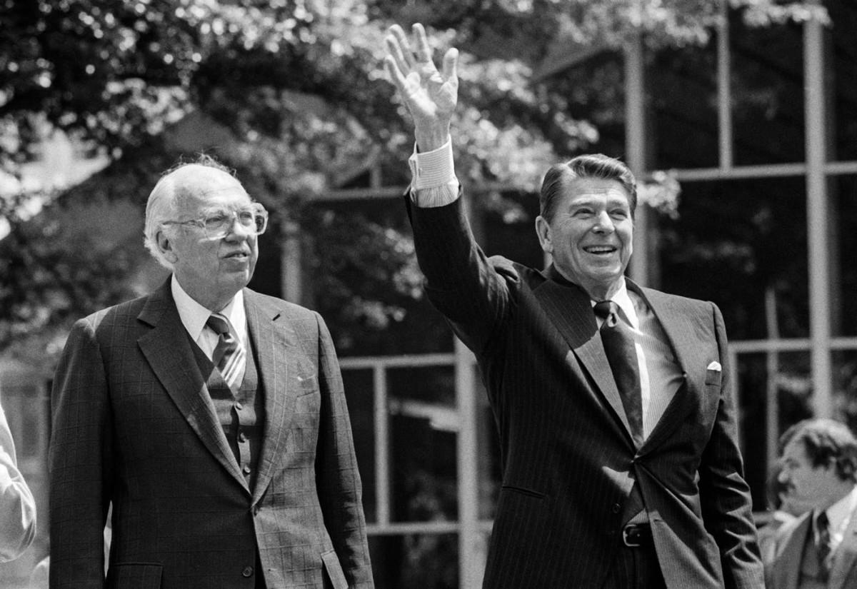 President Ronald Reagan, accompanied by CIA Director William Casey