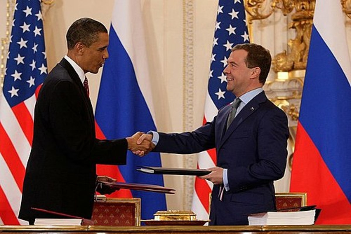 Presidents Obama and Medvedev after signing the Prague Treaty.